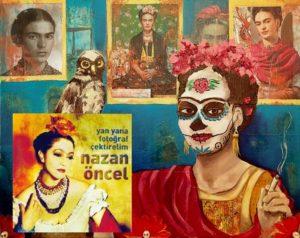 """NAZAN ÖNCEL: Nazan Öncel'in """"Yan Yana Fotoğraf Çektirelim"""" albümünü çok severim. Albümün çıkış parçası """"Hay Hay"""" klibinde de, albüm kapağında da ünlü ressam Frida Kahlo'yu taklit etmişti. Ki zaten bunu da açık açık yaptı. Bir saygı gösterisi niteliğindeydi."""